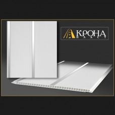 Реечная панель - Белая с серебром 2х-полосная