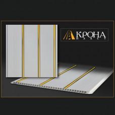 Реечная панель - Белая с золотом 3х-полосная