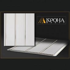 Реечная панель - Белая с серебром 3х-полосная