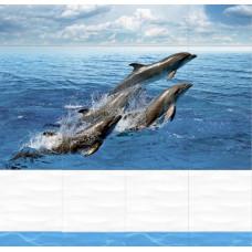 3D-панель ПВХ Unique - Дельфины узор
