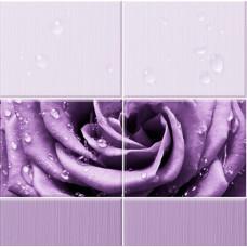3D-панель ПВХ Unique - Капли росы фиолетовый